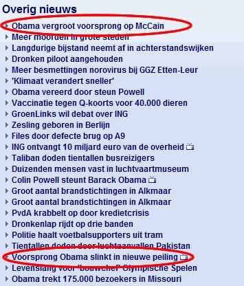 Nu.nl bericht over de voorsprong van Obama