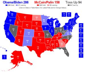 Kaart met peilingen per staat (15 okt 2008)